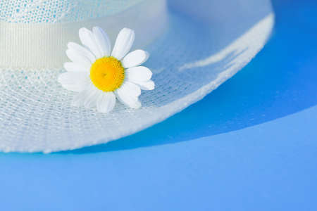 summer straw hat and daisy flowers on blue background. Summertime season, Vacation, weekend relax concept Banco de Imagens