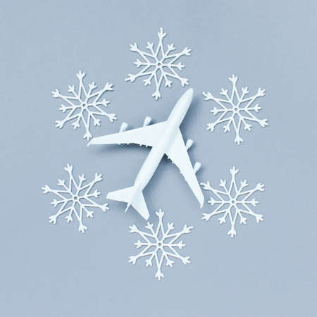white decorative snowflakes and plane on a gray background. Christmas and New Year, a place for text