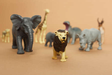 plastic toy figures of animals. animals follow the lion. concept of nature protection. space for text, top view.