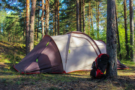 camping in nature. a tourist family tent in the forest and a Hiking backpack near a tree. outdoor recreation Banco de Imagens