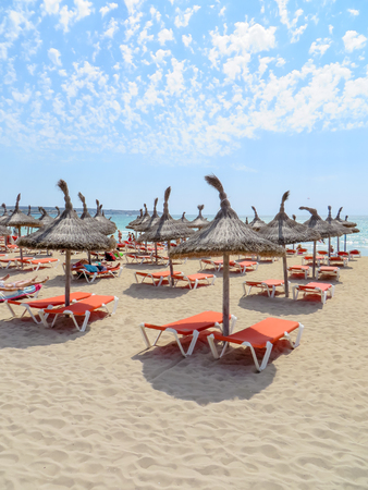 Sun loungers on the beach of Mallorca, El Arenal 写真素材