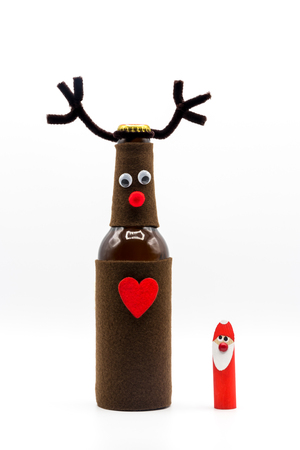 Merry Christmas / Rudolph Red Nose Reindeer with Santa Claus / Santa Claus / Funny Bottle / Christmas Card
