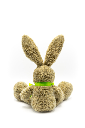 Brown rabbit / Easter bunny from the back with green bow Banque d'images - 116595508