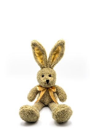 Brown rabbit / Easter bunny with bow Banque d'images - 116595509