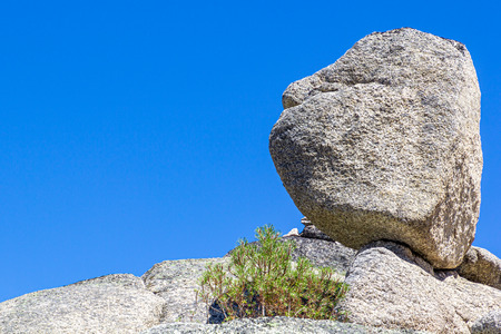 Big rocks at the top of a mountain in the Serra da Estrela at Manteigas, Portugal