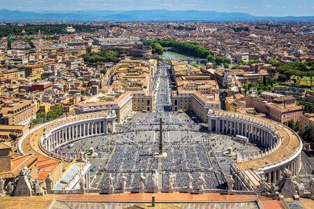 View of St. Peters Square from St. Peters Basilica, Vatican, Rome, Italy