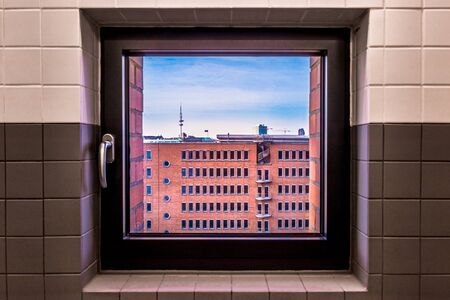 View from a window on the Speicherstadt, Hamburg, Germany