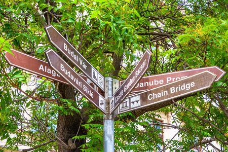 Signpost to tourist sights in Budapest, Hungary