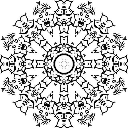 マンダラ塗り絵 デザインロゴ ベクトルイラスト イラスト ロゴ パターン