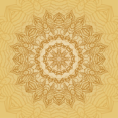 Mandala card in yellow colors for backgrounds, invitations, birthday cards, wallpapers and etc.