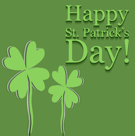 Card designed in paper cut style for st.patricks day in green colors