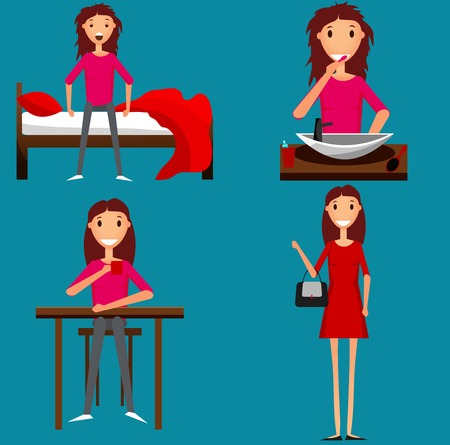 Young girl getting ready in the morning. Flat style illustration. Vector. Illustration