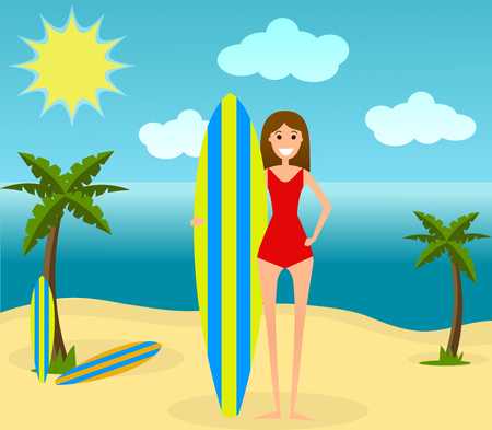 Young girl with surfboard. Vector. Flat style. Happy woman on the beach ready to surf. Concpet of summer vacation.