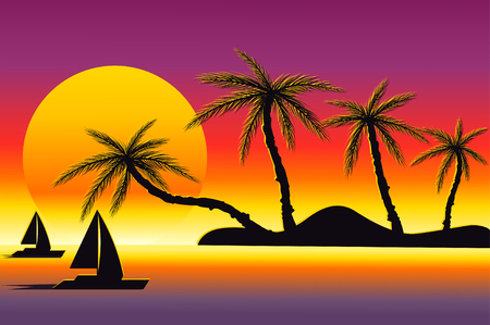 beach sunset: Sunset on a beach vector illustration. Concept of summer holidays. Palms and boats in sunset colors.