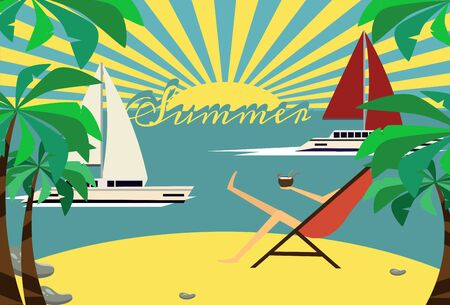 dinghy: Boats on beach vector art in retro style, illustration of relaxed female getting tanned, concept of summer vacation.