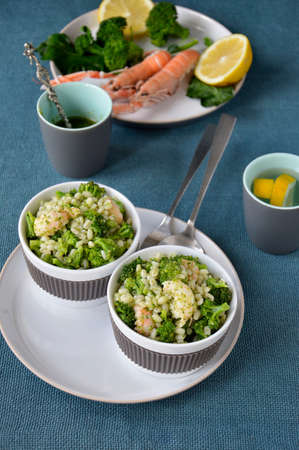 pearl barley: Broccoli salad with pearl barley and Norway lobster Shrimp scampi