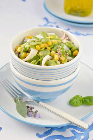 bens: Cuttlefish salad with fresh fava beans and corn with fresh aromatic herbs in a salad bowl of white and blue colors