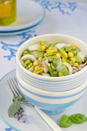bens: Cuttlefish salad with fresh fava beans and corn with fresh aromatic herbs in a salad bowl of white and blue colors  Close-up