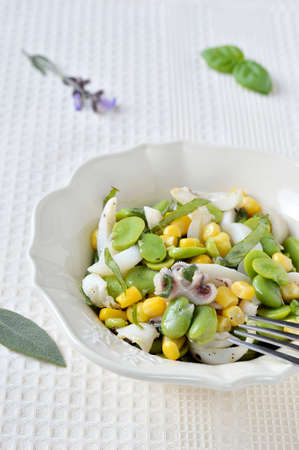 bens: Cuttlefish salad with fresh fava beans and corn with fresh aromatic herbs in a salad bowl  Close-up  Stock Photo