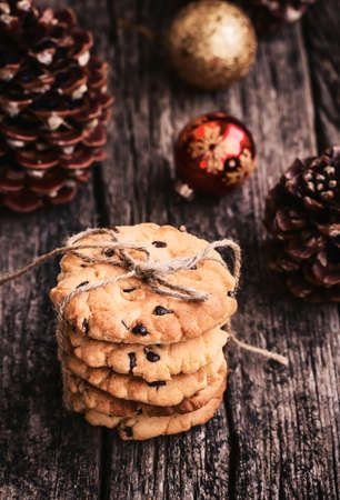 toned image: Stack of Holiday Chocolate Chip Cookies at Christmas Time, Toned Image