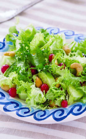 escarole: Fresh Frisee  Salad with Red Currants and Cashews Stock Photo