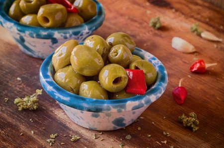preserves: Preserves. Marinated Olives, Close-up