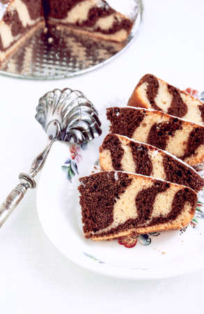Pieces of Zebra Marble Chocolate Cake, Close-up
