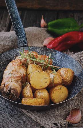 fingerling: Roast pork, with Fingerling Potatoes Stock Photo