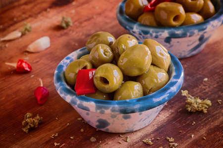 Preserves. Marinated Olives. Stock Photo