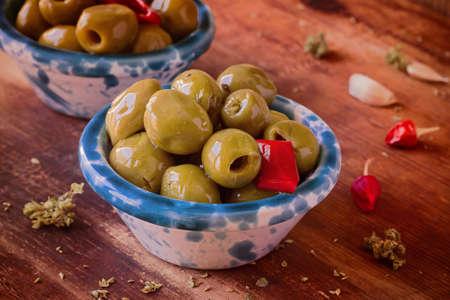 Preserves. Green Olives with Chili, Oregano.