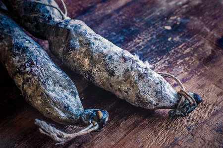 air dried: Homemade Salami Sausages, Dark Style, Food Styling