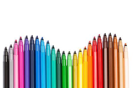 열린 펠트 펜에서 유연한 구배 그림, 교육, 학교, 창의력을 주제로 한 밝은 그림
