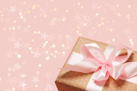 Luxurious gift on a trendy pink colors. Present for St. Valentines day, weddings, engagements, Mothers Day, birthday, New Year, Christmas, holidays Imagens