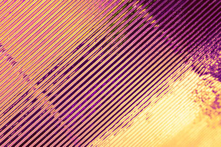 Abstract stylish geometric background. Growing diagonals. Trendy gold and violet colors.