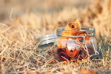 Glass jar with fruit pastille roll-up on a natural grassy background.