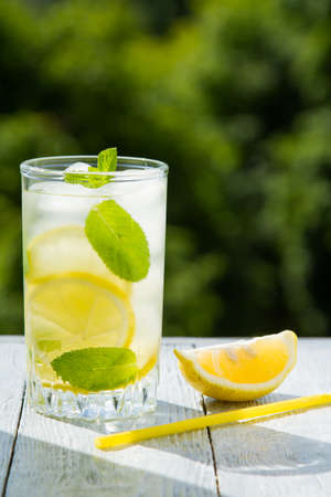 Citrus fresh lemonade in garden setting,summer drink.