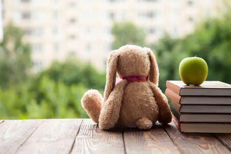 toy Bunny sitting back, lie next to a stack of books and a green Apple. Concept in anticipation of the new school year. Back to school