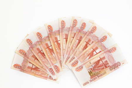 fan of many banknotes in denominations of five thousand Russian rubles Reklamní fotografie