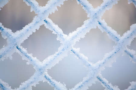 Frozen fence made of metal mesh covered with snowy hoarfrost, winter day. Winter snow texture.