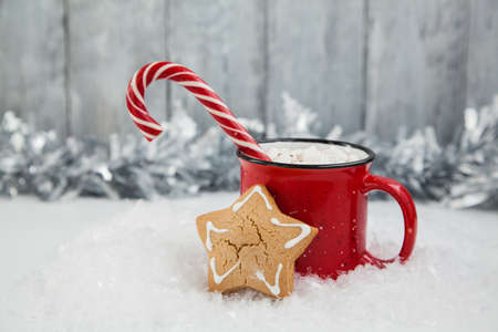 Red mag of drink with candy cane and Christmas gigerbread on snowy background. Christmas greeting card