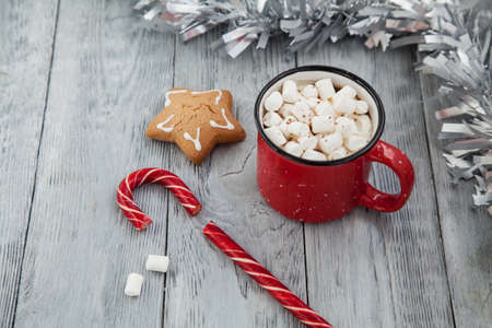 Red mag of drink with candy cane and Christmas gigerbread on snowy background.