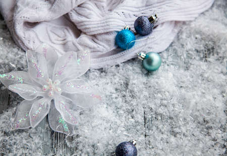 Christmas wooden background with Christmas decoration and snow Stok Fotoğraf