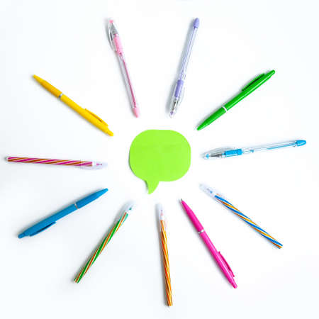 Set of colors pens in shape of sun on white background