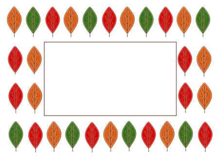 Frame of multicolored autumn leaves with a copy of the space. Autumn template