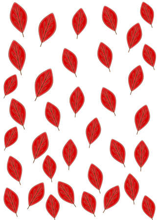 Red autumn leaves on a white background. Seamless pattern.