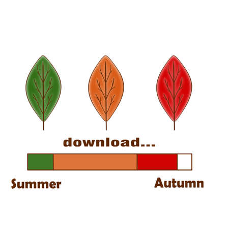 Indicator of color from three different colors leaves. Download the autumn. Summer ends and autumn begins. The idea is in the picture.