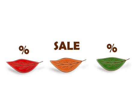 Three autumn leaves of different colors and text about SALE on a white background are arranged in a row.