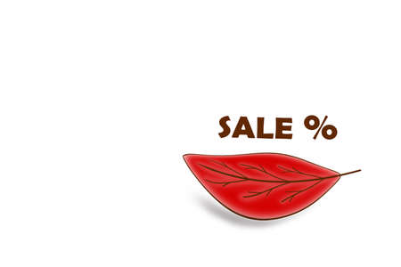 Autumn red leaf with the sale text on a white background. A drawing to insert in a promo or sale. Stock fotó