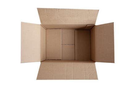 opening empty box on white background
