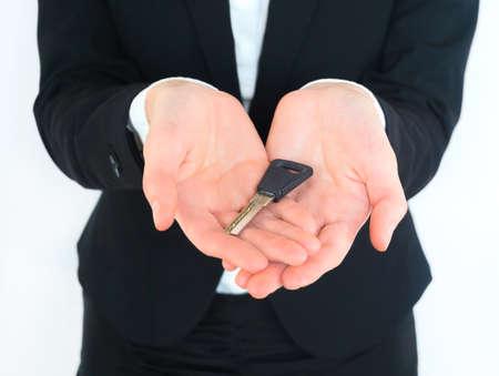 business woman holding keys photo